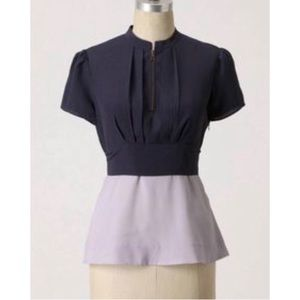 ANTHRO Girls From Savoy Color Blocked Blouse